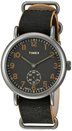 Timex Men's TW2P86700 Weekender 40 Mini-Sweep Titanium-Tone/Black Leather Slip-Thru Strap Watch