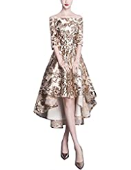 Fanhao Womens Off-The-Shoulder Half Sleeves Sequins Lace Short Trail Cocktail Dress