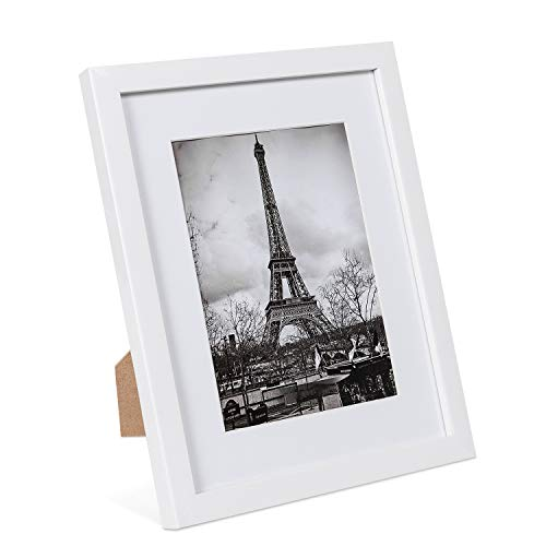 upsimples 8x10 Picture Frame Set of 10,Display Pictures 5x7 with Mat or 8x10 Without Mat,Multi Photo Frames Collage for Wall or Tabletop Display,White (Frame Set Collage)