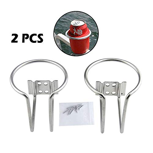 Guaren us 2Pcs Stainless Steel Ring Cup Drink Holder for Marine Yacht Boat