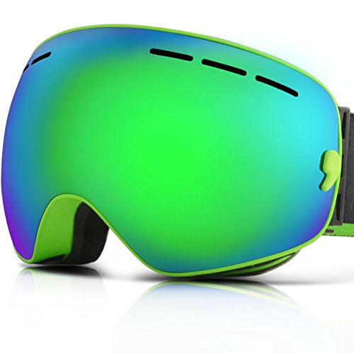 YAKAON Snowboard Ski Goggle with Mirror Coating Anti-fog and UV Protection Spherical Dual Lenses Professional Ski Goggles Unisex (Green)