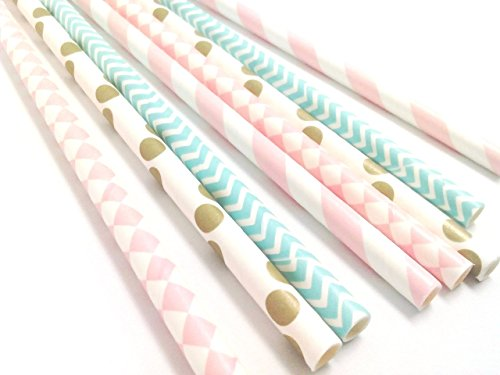 Bixby Basil Pretty Paper Straws | Colorfully Printed Paper Straws for Weddings, Birthday Parties, Baby Showers & Other Special Occasion Celebrations (100 Count Value Pack Paper Straws) Pink Blue Gold