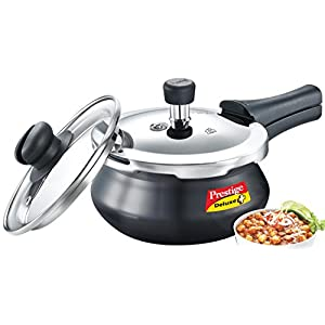 Prestige Deluxe Duo Plus Induction Base Aluminium Pressure Cooker (2 Litres, Black)