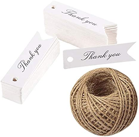 20 Kraft Heart Thank You Labels Tags With Natural Twine Weddings Gifts