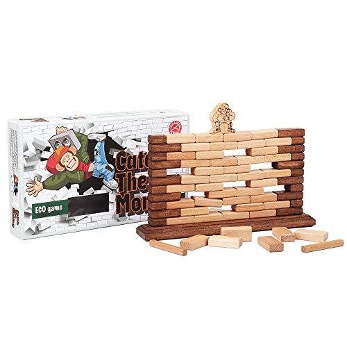 Catch The Monkey 楽しいファミリーゲーム 木製ブロック積み重ねゲーム バランスのとり スピードと忍耐