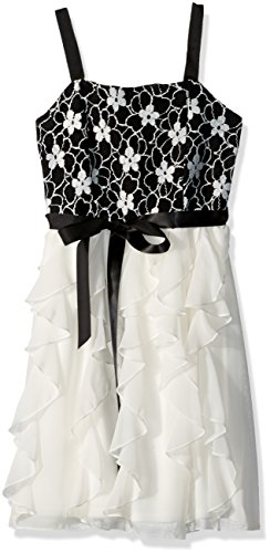 Bloome Big Girls' Sleeveless Floral Lace Bodice Corkscrew...