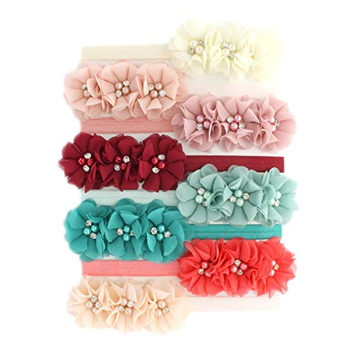 My Lello Baby Flower Headbands Fabric Beaded Trio Stretchy Elastic Variety Pack Vintage Shabby Colors 8 pcs ()