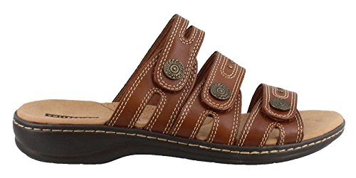 CLARKS Womens, Leisa Lakia Slide On Sandals Dark Tan 8.5 W