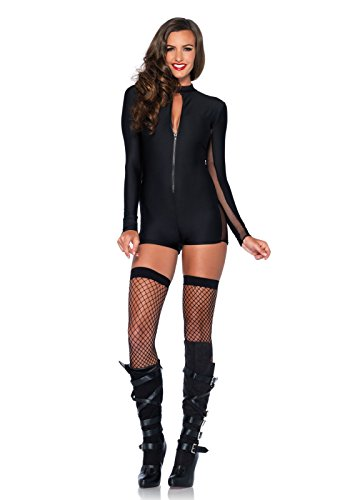 Leg Avenue Women's Zipper Front Romper with Sleeve and Side Sheer Panel, Black, (Sheer Halloween Costumes)