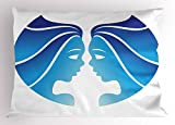 Ambesonne Zodiac Gemini Pillow Sham, Astrological Twins Art in Blue Shades Looking at Each Other, Decorative Standard Size Printed Pillowcase, 26 X 20 inches, Blue Pale Blue and White