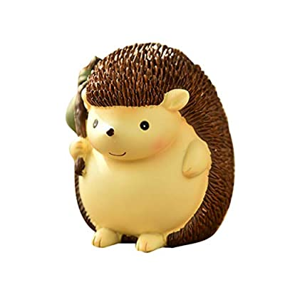 VOSAREA Cute Hedgehog Piggy Bank Cartoon Resin Animal Saving Pot Desktop Ornament Money Box (Hedgehog Bag): Toys & Games