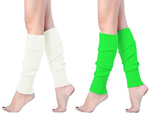 Leg-Warmer-V28-Women-Ladies-Girl-Fashion-Winter-Bohemian-Boho-Knit-Crochet-Long-One-Size-whitegreen