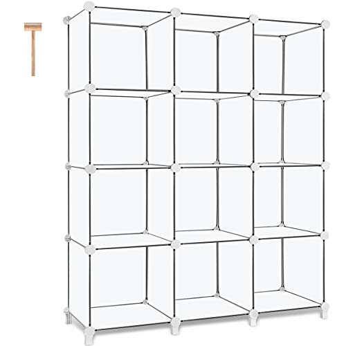 TomCare Cube Storage 12-Cube Book Shelf Storage Shelves Closet Organizer Shelf Cubes Organizer Plastic Bookshelf Bookcase DIY Square Closet Cabinet Shelves for Bedroom Office Living Room, White (White Bookcase Modular)