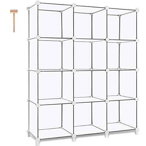 TomCare Cube Storage 12-Cube Book Shelf Storage Shelves Closet Organizer Shelf Cubes Organizer Plastic Bookshelf Bookcase DIY Square Closet Cabinet Shelves for Bedroom Office Living Room, White by TomCare (Image #7)