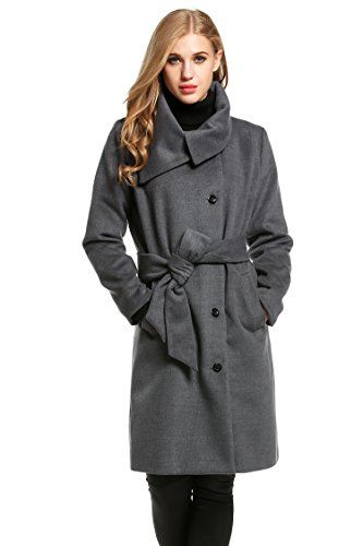 Meaneor Women Single-Breasted Wool-Blend Coat With Belt