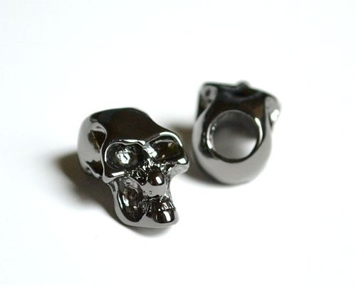 10 Metal Black Skull Beads For 550 Paracord Bracelets, Lanyards, & Other Projects