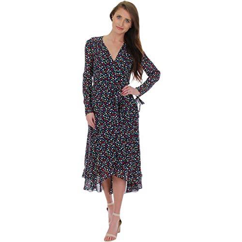 Betsey Johnson Womens Midi Hi-Low Wrap Dress Navy 6