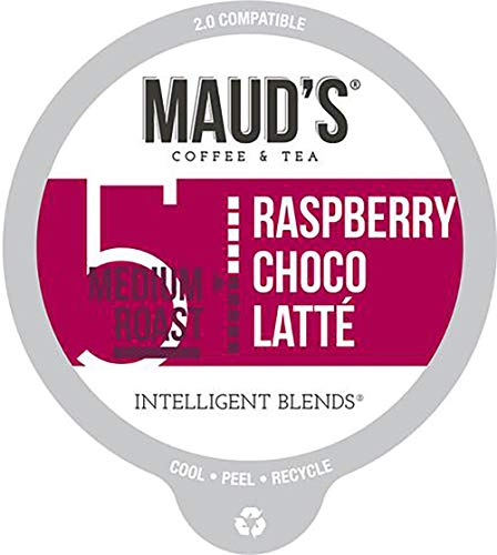 Maud's Raspberry Chocolate Flavored Coffee (Raspberry Choco-latte), 60ct. Recyclable Single Serve Coffee Pods - Richly Satisfying Arabica Beans California Roasted, K-Cup Compatible Including 2.0