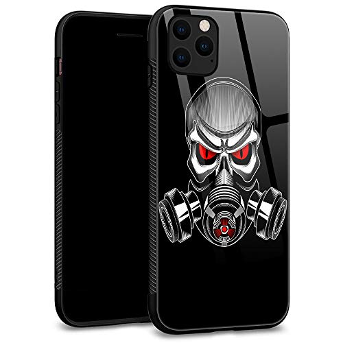 iPhone 11 Pro Max Case, Tempered Glass Back Shell Pattern Designed with Soft TPU Bumper Case for Apple iPhone 11 Pro Max Cases 6.5 inch - Skull Wearing a Gas mask Vector (Vector Gas Mask)