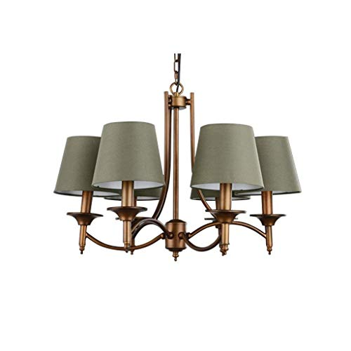 (LUHEN Ceiling Chandelier-Chandelier American Countryside Lamp Mediterranean Iron Warm Lighting Living Room Bedroom Romance Lights E27 Light Source Dark Green (Color : 6 Heads-66cm52cm))