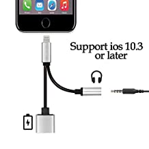 (Upgrade) ALANNI 2 in 1 Lightning to 3.5mm AUX Headphone Jack Splitter (Audio + Charge) Compatible with iOS 10.3 For iPhone 7/plus - No Calling Function and Music Control (Silver)