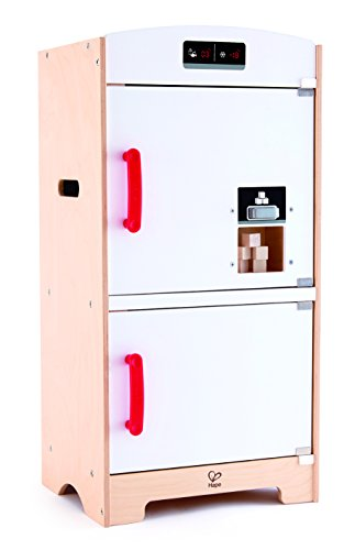 Hape White Fridge Freezer Play Kitchen, White/Red (Refrigerator Wooden Play)