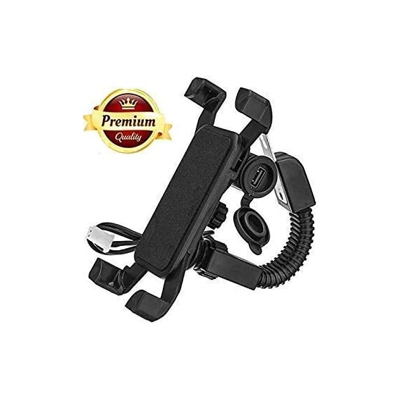 BENJOY Universal Motorcycle 360 Degree Mirror Stand Rotating Bike Mobile Holder with USB Charger for All Android Devices