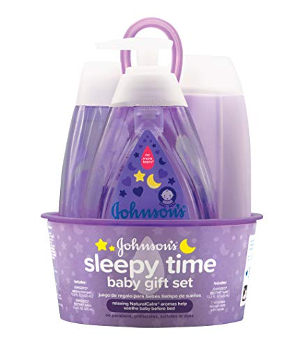 Johnson's Sleepy Time Baby Gift Set with Relaxing NaturalCalm Aromas, Bedtime Essentials, 4 - Essentials Gift