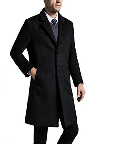 - Men's Luxury Wool Blend Single Breasted Long Trench Overcoat (S, Black)