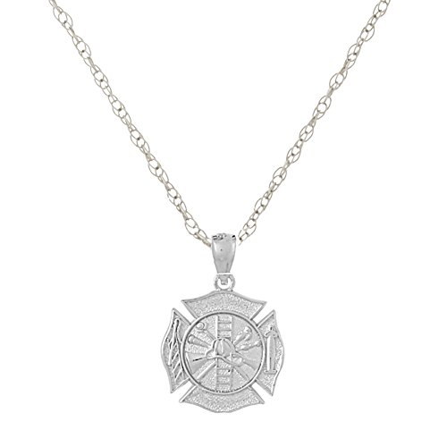 14k White Gold Religious Charm Necklace Pendant with Chain, 3-D Fireman Shield, Maltese Cross, with 18 Inch Chain