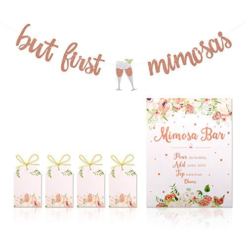 Mimosa Bar Sign But First Mimosas Banner Boho Floral Bridal Shower Decorations Rose Gold Baby Shower Graduation Decor Easter Brunch Bubbly Bar Themed Wedding Engagement Birthday Party Mimosa Bar -