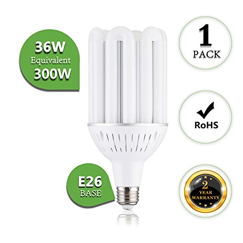 Watt Compact Fluorescent Adjustable Light (36 Watt Corn LED Light Bulb 5000K Daylight White E26 Base E39 Base Adapter 3960 Lumens 360° Beam Angle Replacing HID/Metal Halide/HPS/CFL for Factory Yard Warehouse Highbay LED Retrofit Bulb)
