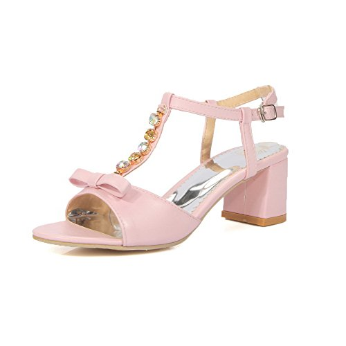 AllhqFashion Damen Offener Zehe Mittler Absatz Weiches Material Rein Schnalle Sandalen Pink