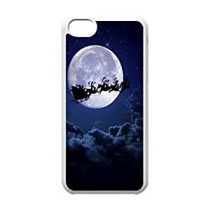 Santa Clause Sledge Raindeer iPhone 5c Cell Phone Case White Exquisite gift (SA_652202)