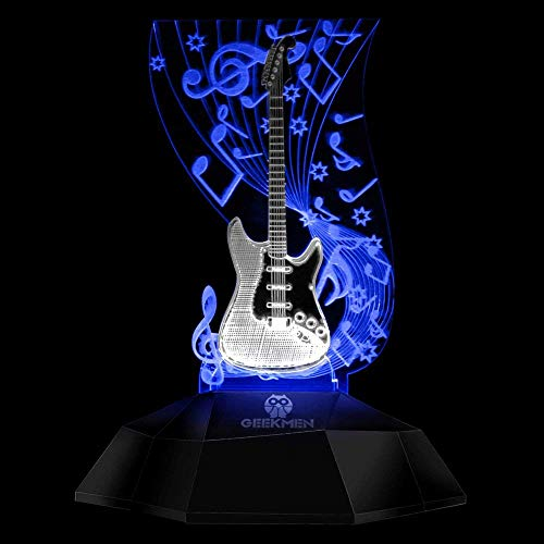 Novelty Lamp, Music Note Indoor Lighting, Touch Switch Illusion Optical Table Lamp Art Music Instrument Guitar 3D Line Lamp LED Decorative Night Light Guitarist Music Room Decor Unique Gift Idea for M by LIX-XYD (Image #2)