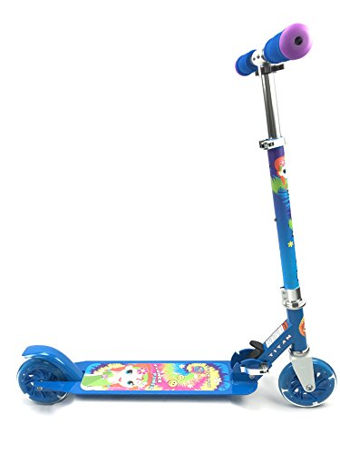 Titan Flower Power Princess Folding Aluminum Girls Kick Scooter with LED Light Up Wheels (Age 5+), Blue