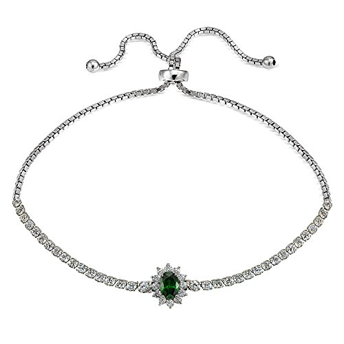 GemStar USA Sterling Silver Simulated Emerald Sun Flower Tennis Adjustable Bolo Bracelet