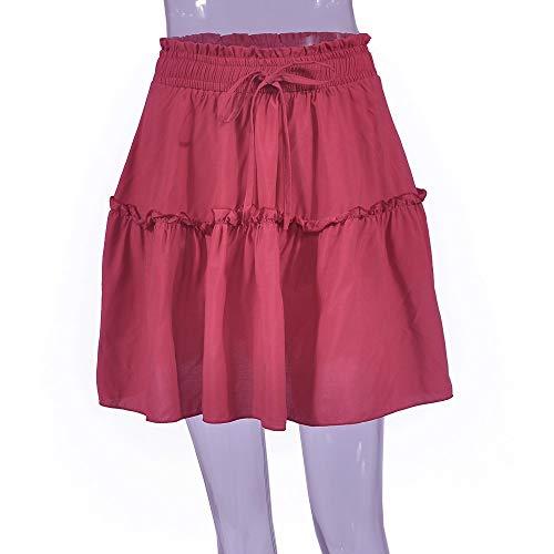 Bande Court Femme Rouge Jupe LULIKA Bodycon Jupe Genou Femmes LaChe La Taille Haute Elastique Stretch Fille Mini sous Lastique Jupe 7YvqtHvRwn