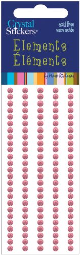 Mark Richards Elements Crystal Stickers 1665 Self-Adhesive 120-Piece Round Rhinestones Crystal Sticker Strips, 3mm, Light Pink