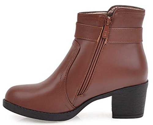 IDIFU Womens Classic Mid Heels Chunky Buckle Ankle Boots With Zipper Brown hPnGlo4At