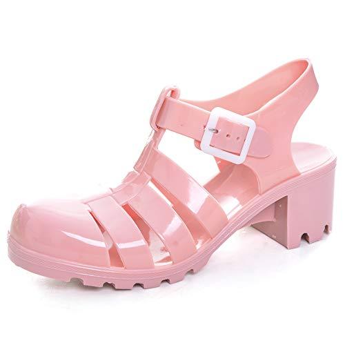 Women Crystal Jelly Sandals Summer Women Rain Boots Retro Slingback Strappy Heels/Flat Sandals for Women Pink 7.5 ()