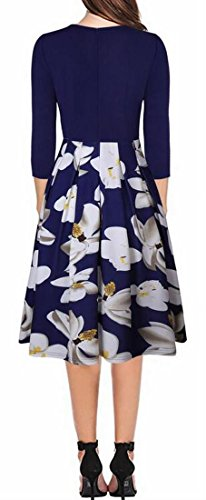 Hepburn Casual Stitching Skater 4 3 Blue Dress Midi Sleeve Floral Domple Women's fHq5wx8