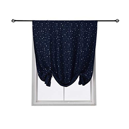 HomeyHo Tieup Roman Curtain Satr Tie Up Curtains Energy Efficient Small Window Curtain Kids Room Darkening Roman Shades Energy Efficient Tie Up Curtain Balloon Curtain Shade, 31 x 47 Inch, Navy (Roman Shades Print)