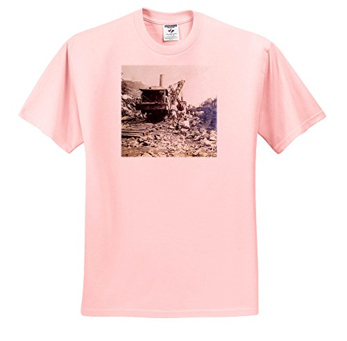 3dRose Scenes From The Past Magic Lantern Slides - 1906 Steam Shovel at The Panama Canal Bas Obispo Vintage - T-Shirts - Adult Light-Pink-T-Shirt 4XL - The Shops Canal At
