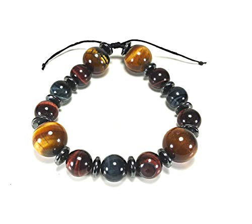 Gucci Leather Bracelet - Handmade Multicolor Tigers Eye Crystal Bracelet 10mm 14mm Natural Gemstones Hematite Spacers Strong Leather Cord (AURAS BY OSIRIS)