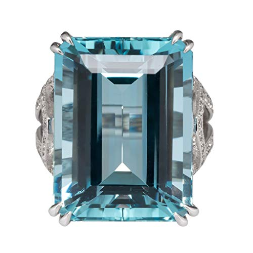 Haluoo Blue Topaz Ring, Vintage 925 Sterling Silver Aquamarine Gemstone Ring Emerald Cut Sapphire Quartz Engagement Wedding Band Big Diamond Cocktail Ring Gem Stone Jewelry Size 6-10 (10, Blue)