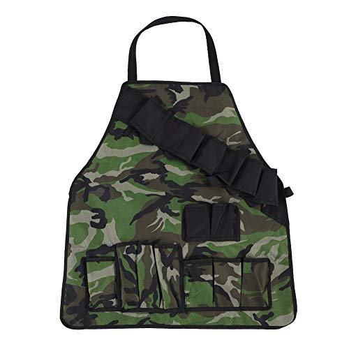 Camouflage Barbecue Apron 600D Oxford Durable Pockets Apron for Outdoor Picnic BBQ (Green Camouflage)