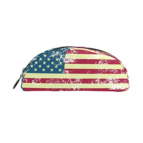 LORVIES American US Flag Pencil Case Semicircle Stationery P