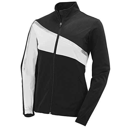 Augusta Sportswear Womens Aurora Jacket, Black/White/Metallic Silver, Small (Best Sportswear For Ladies)