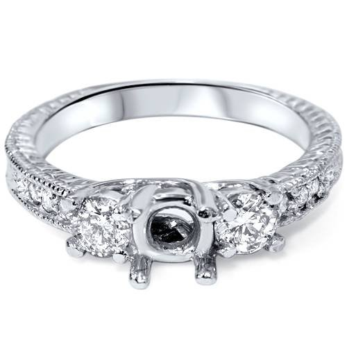Semi Mount Diamond Engagement Ring Setting 14K Mount